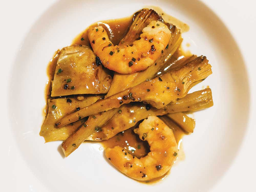 Marinated Artichokes with Prawns and Fino Sherry (Alcachofas Salteadas con Langostinos y Fino)