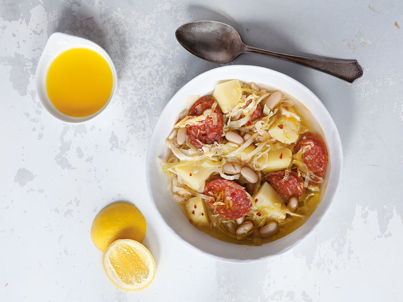 Spicy Cabbage and Chorizo Soup