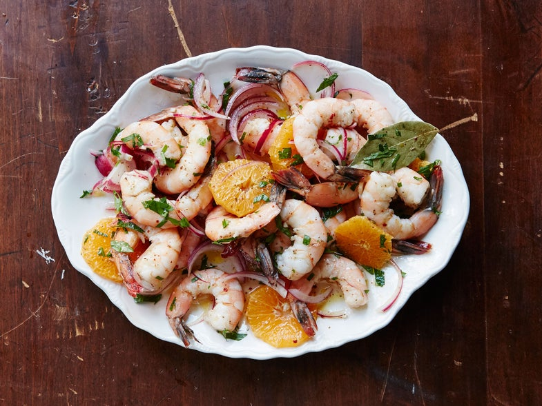 Pickled Shrimp with Satsuma (close up)