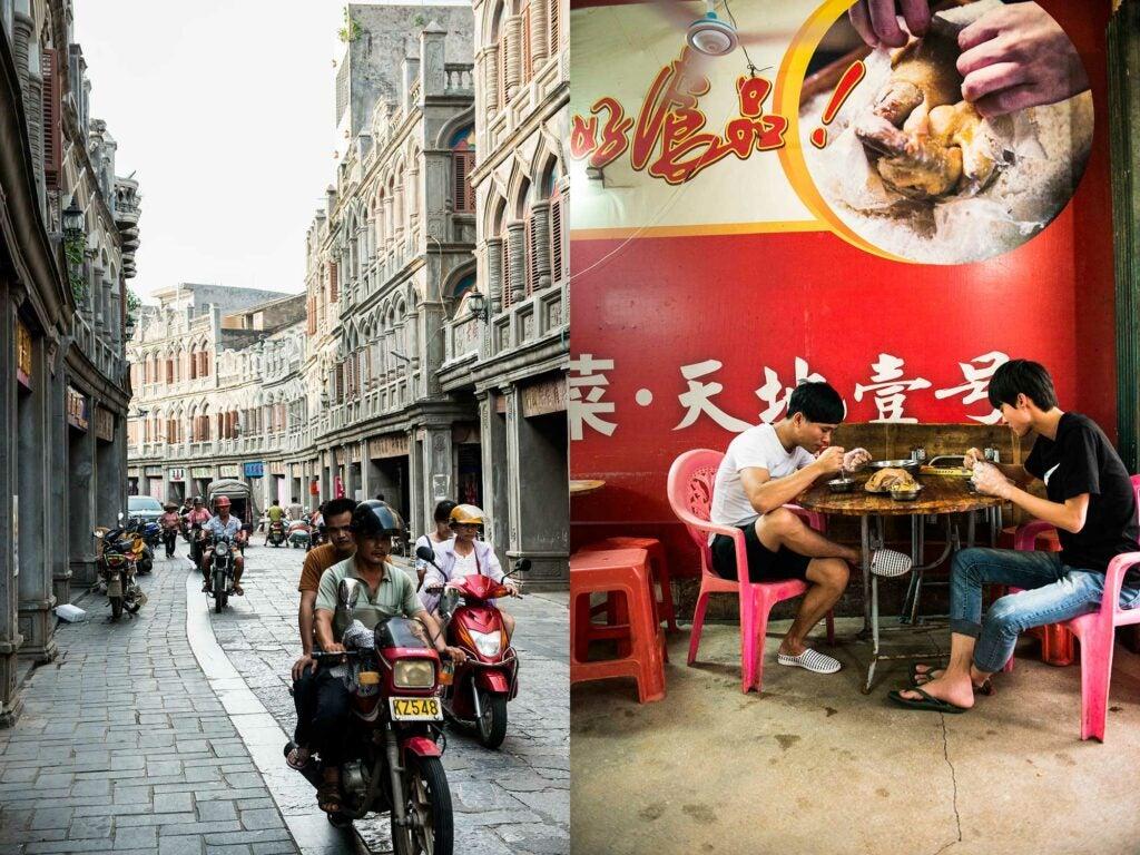 Left: Old Wennan Street. | Right: Ji Ying Salt Baked Chicken restaurant.