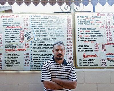 A patron at El Tepeyac Cafe
