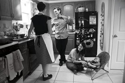 people in a kitchen