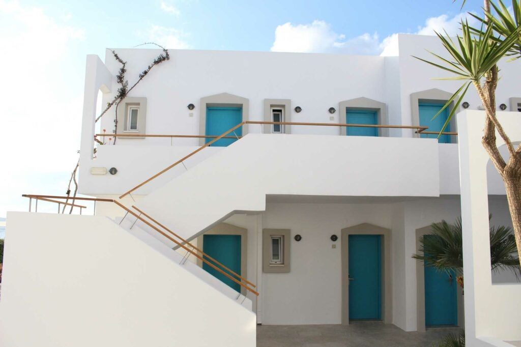 The outside of the Ammos Hotel looks typically Greek, but just wait until you get inside.