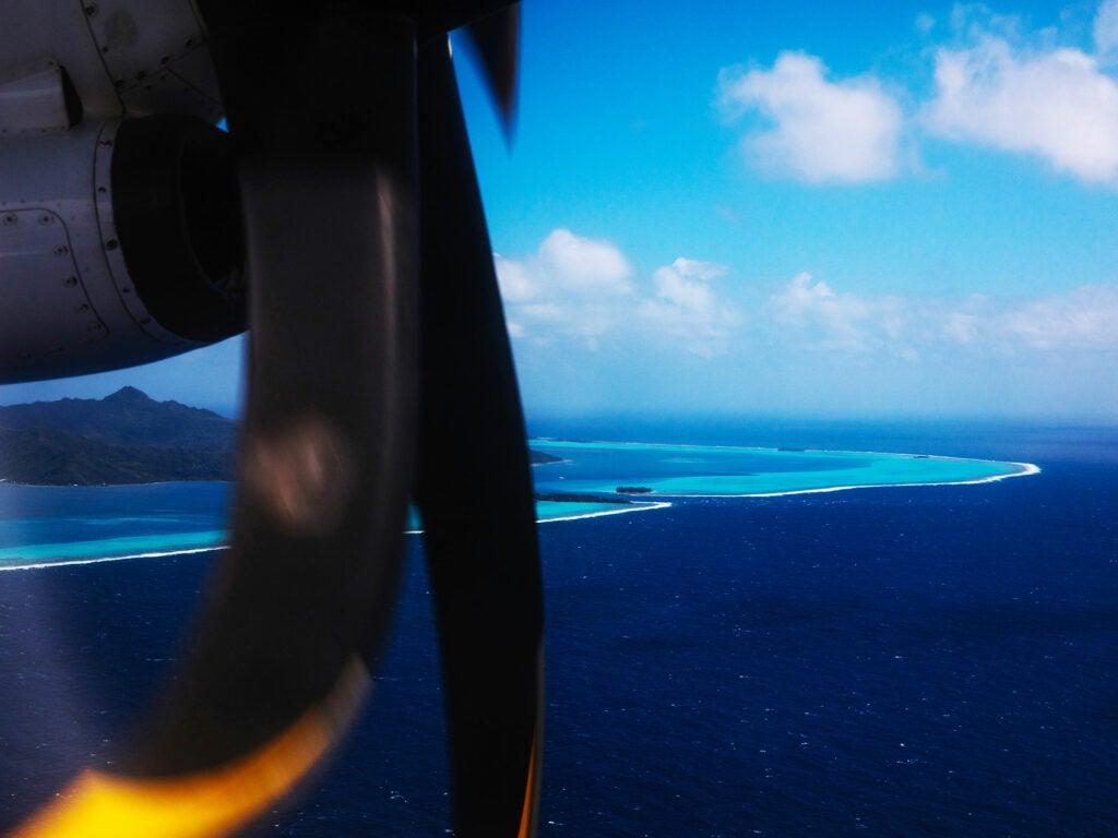 aerial view of tahiti from plane window