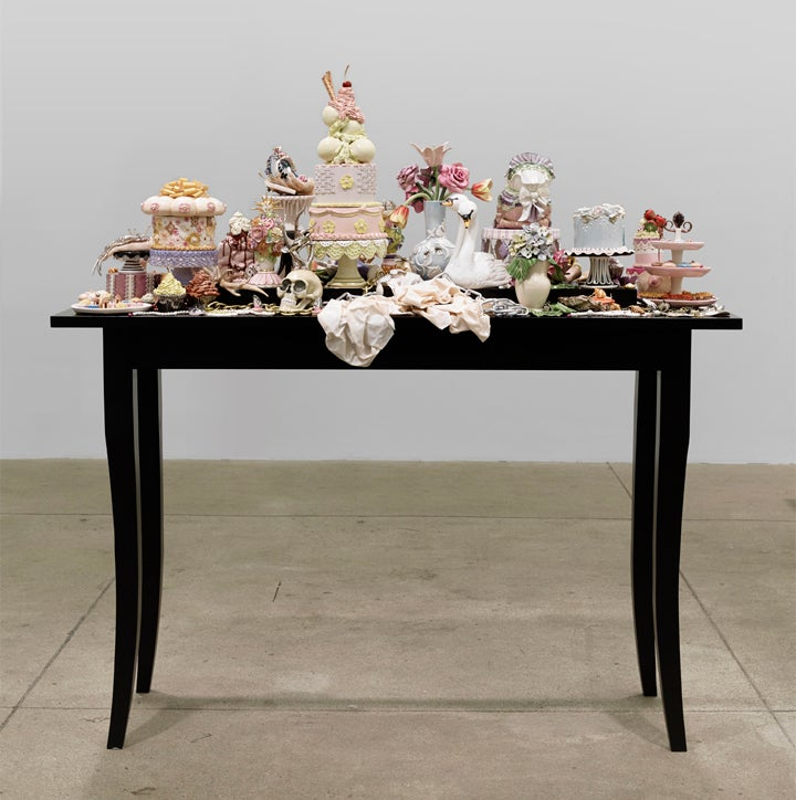 Untitled (still life), 2014, porcelain, glaze, china paint, lustre, enamel, wire, wood, 63