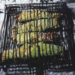 Anglerfish Grilled in Fig Leaves