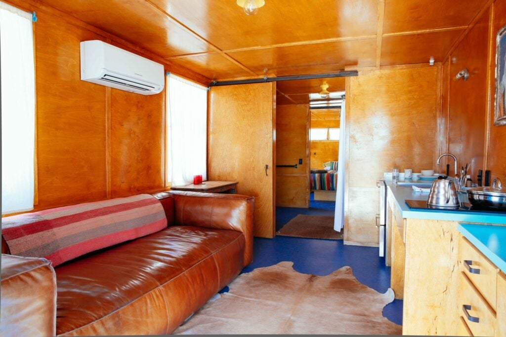 The interior of the Battleship trailer, with a couch you can really sink into