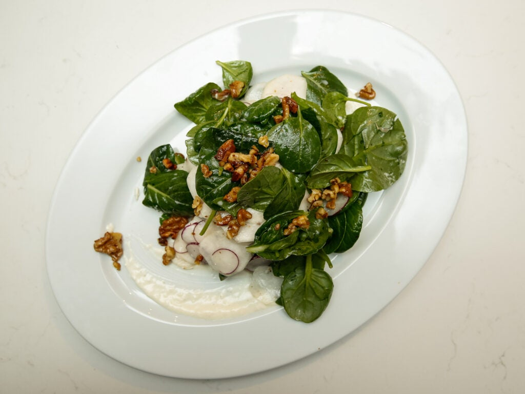 This spinach salad was packed with turnips, which went perfectly with the horseradish dressing