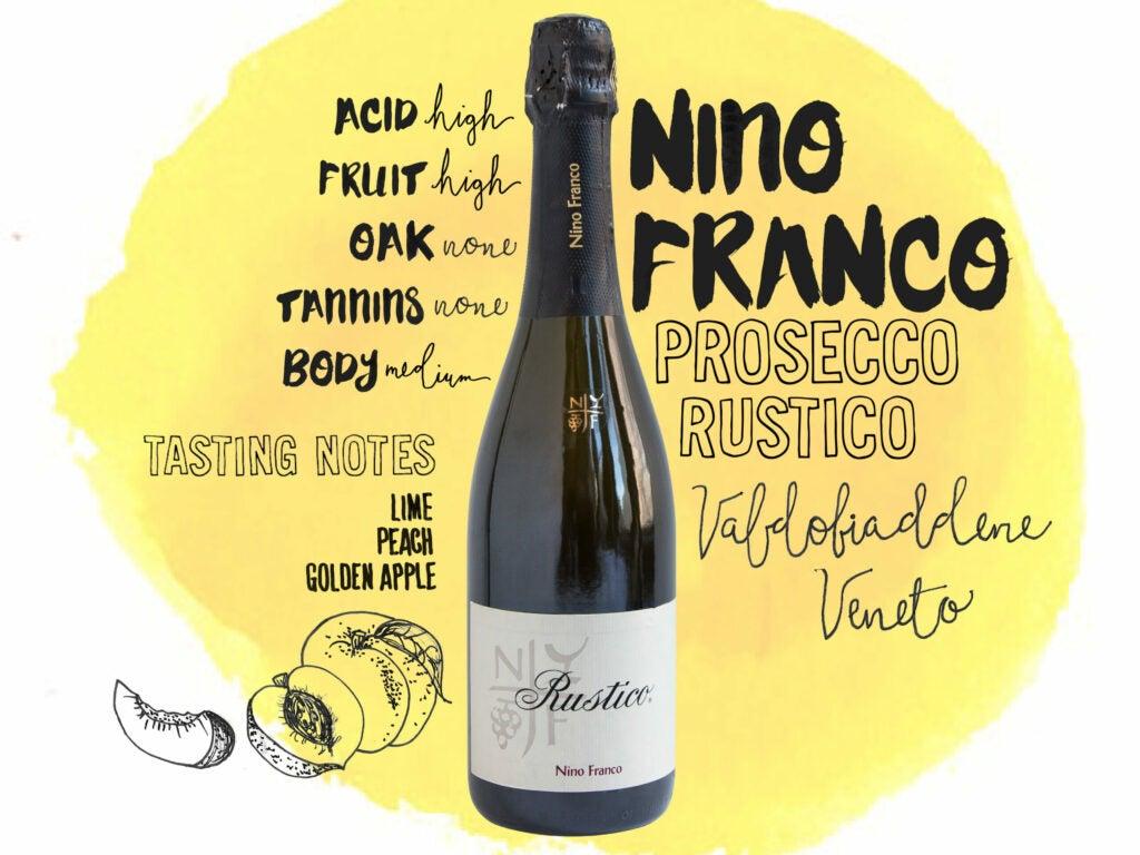 Nino Franco Prosecco 'Rustico,' Valdobiaddene, Veneto, Italy, wine illustrations