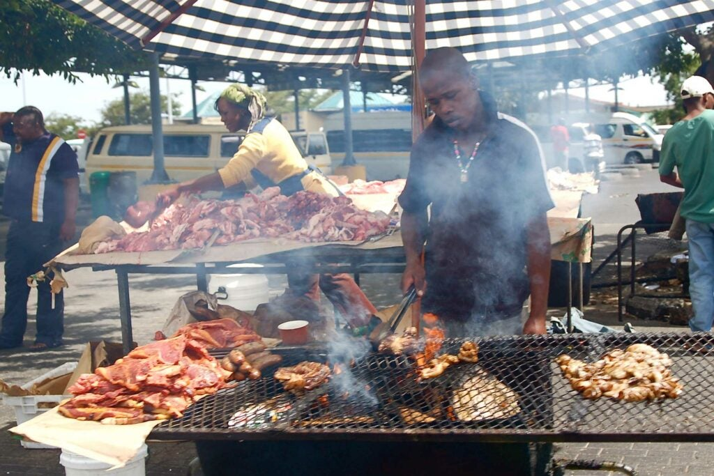 Braai (grilling) in Khayelitsha Township in Cape Town, South Africa