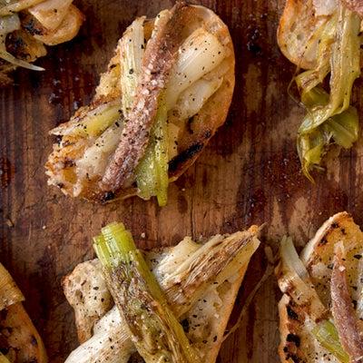 Grilled Leeks and Stewed Garlic on Toast