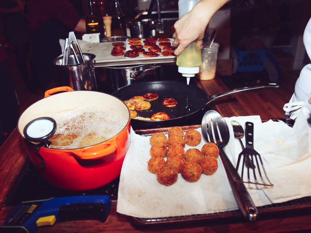 Cooking up pancakes and croquettes