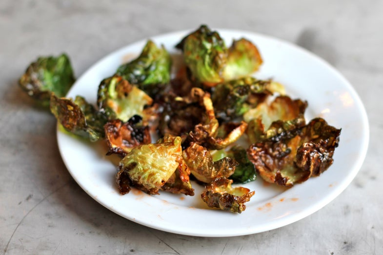 Brussels Sprout Chips with Sweet Chile Sauce