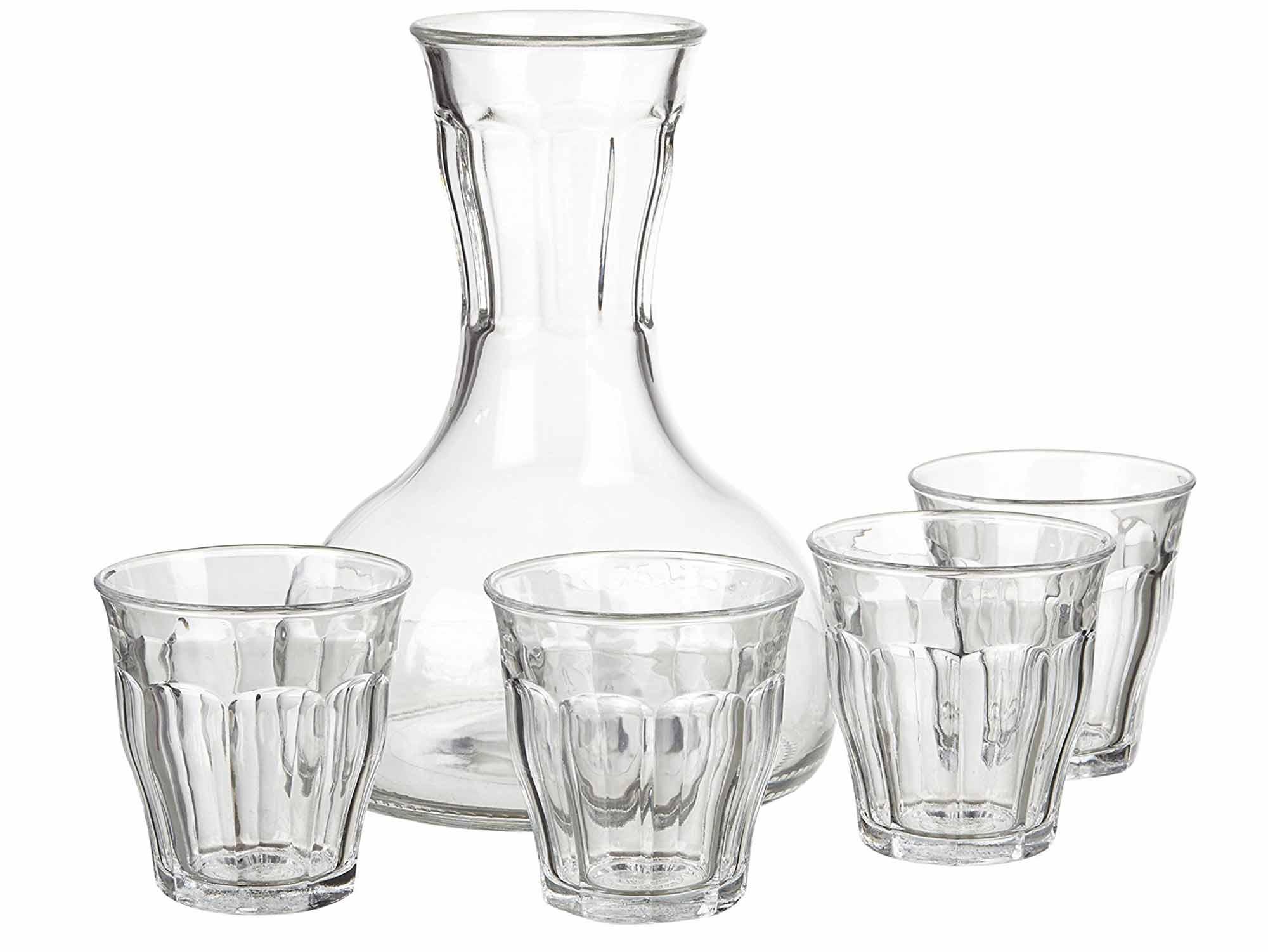 Wine carafe stackable glasses