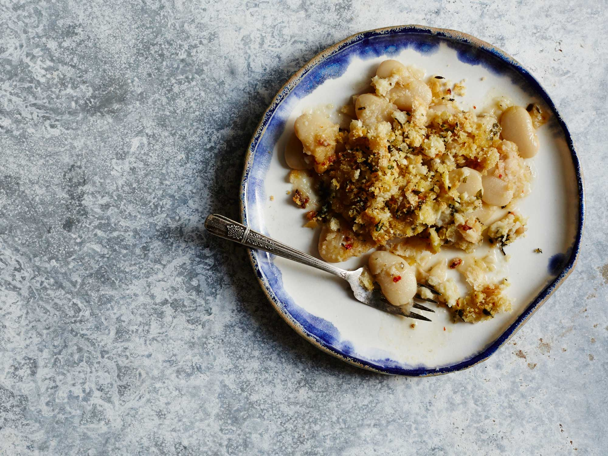 Lima Bean Gratin with Herbed Bread Crumbs