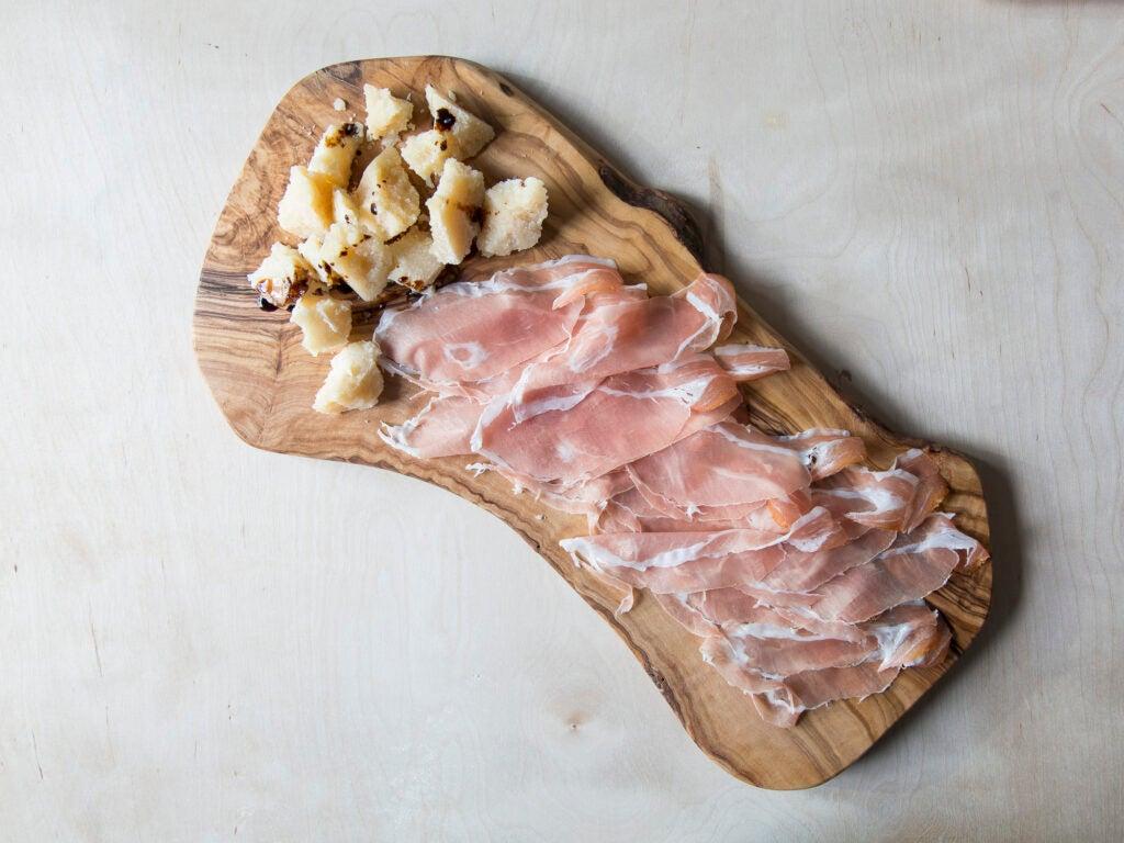 A Grana Padano cheese plate, complete with San Daniele DOK Dall'Ava Prosciutto