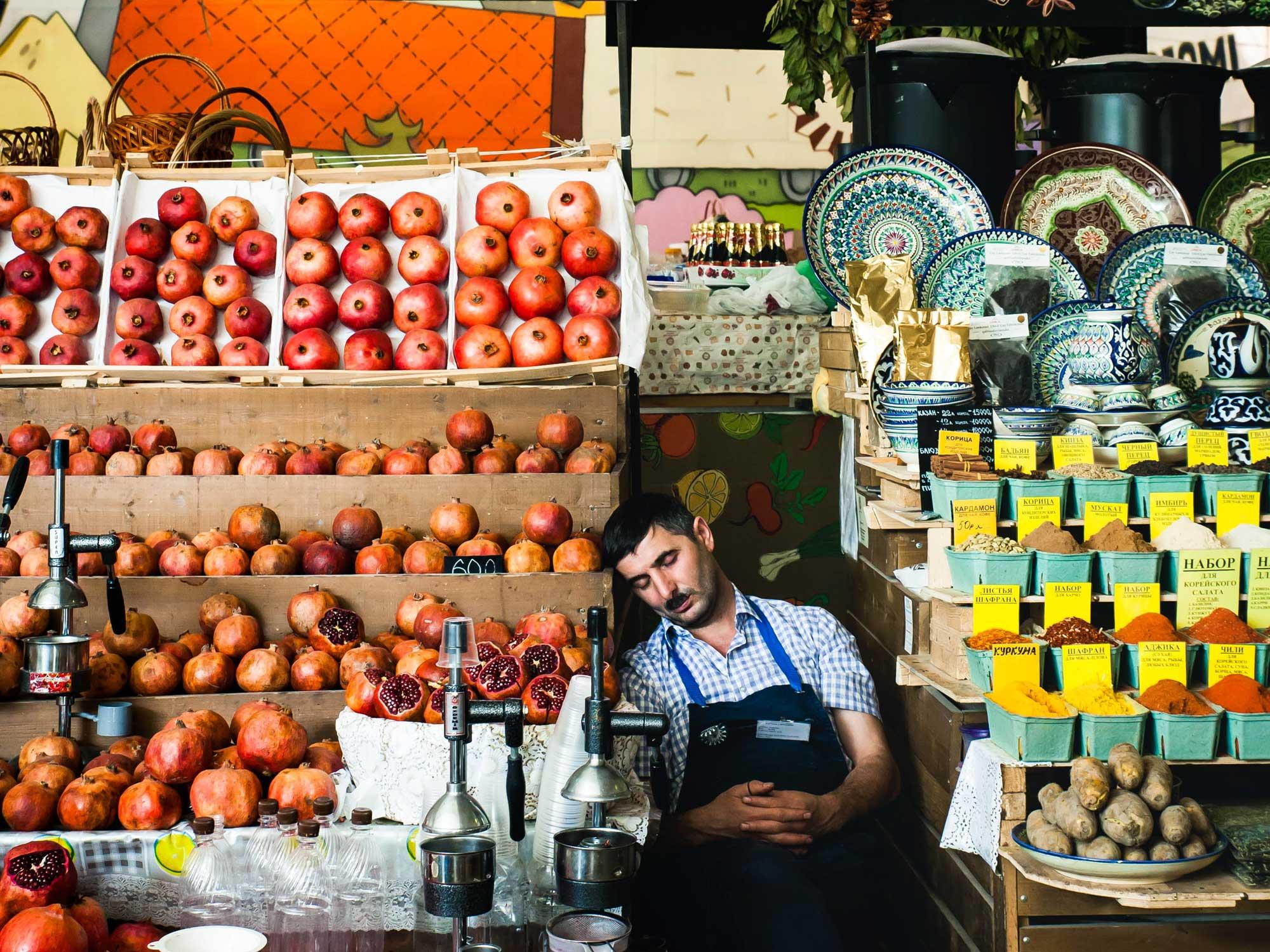 Sleepy Vendor at Danilovsky Market