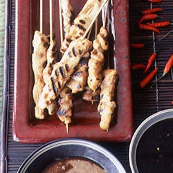 Grilled Chicken Skewers with Spicy Peanut Sauce and Sweet Chile-Soy Condiment (Sate Ayam dengan Saus Kacang dan Sambal Kecap)