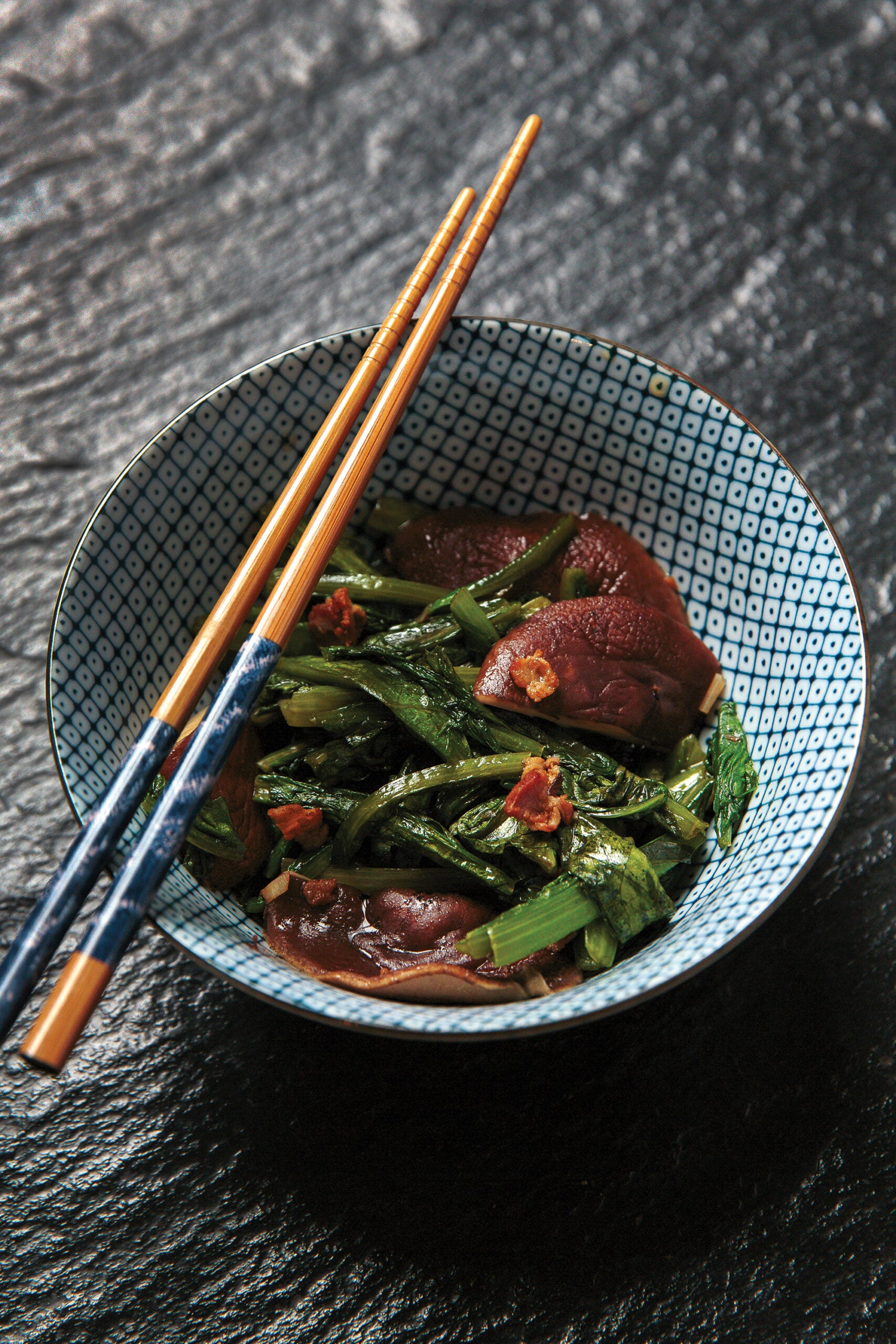 Stir-Fried Celtuce Tops with Wild Mushrooms