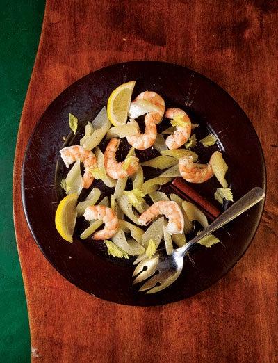 Shrimp and Pickled Celery