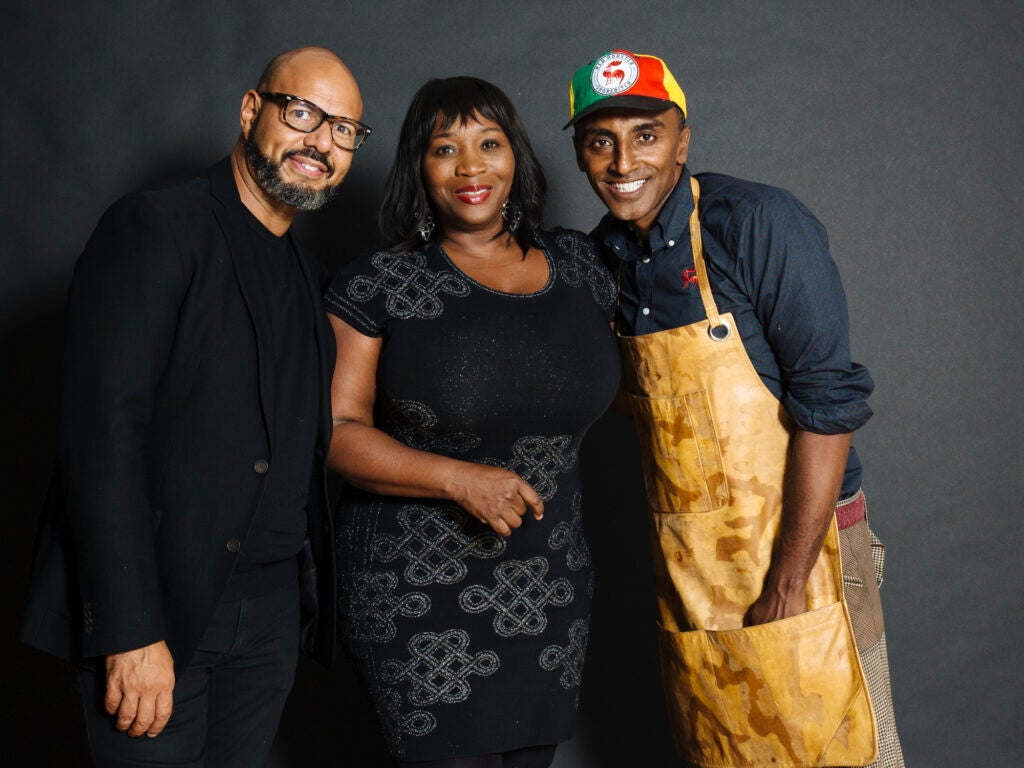 Marcus Samuelsson with Emil Wilbekin and Bevy Smith
