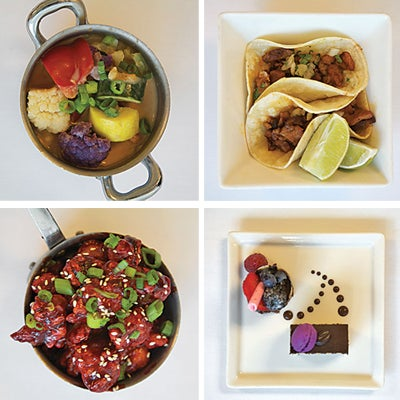 Stir-fried summer vegetables with tofu and red curry; tacos al pastor; opera cake with chocolate mousse; General Tso's chicken.