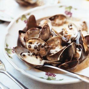 Steamed Manila Clams with Dijon-Caper Sauce