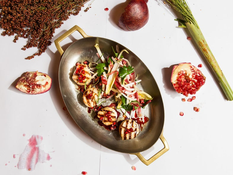 Grilled Scallops with Pomegranate and Endive