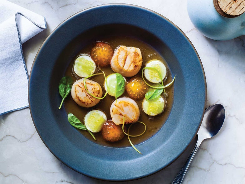 "Seared Scallops with Zucchini ""Ravioli"" and Tomato Water"