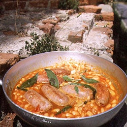 White Beans in Herbed Tomato Sauce with Fresh Sausages