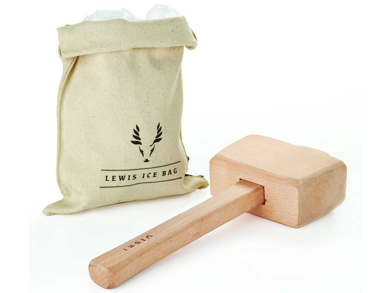 "Viski Professional Lewis Bag and Mallet Crusher, Bartender Tool Set and Accessory, 12"", Ice Bag & Mallet"