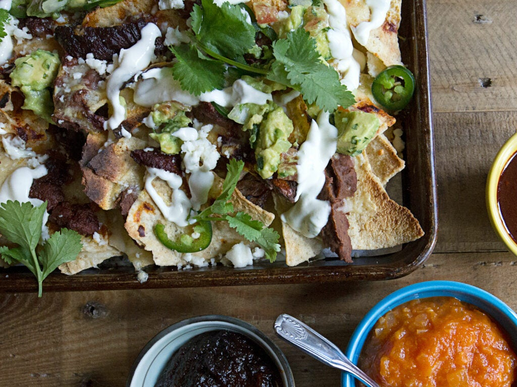 Black Bean Nachos with Red Chile Beef