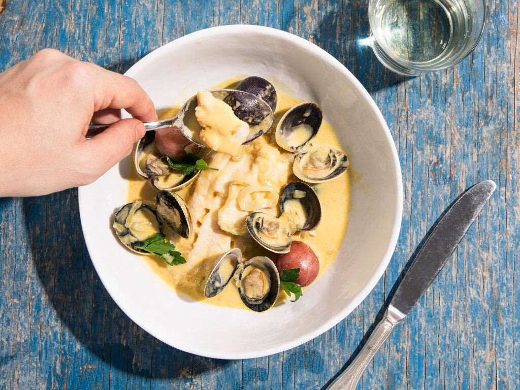 Braised Bass and Clams in White Wine and Cream