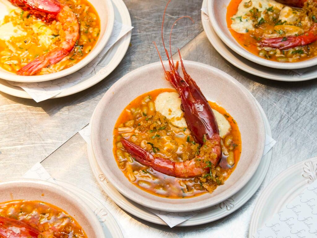 Enormous carabineros with tiny beans and (shockingly good) cod tripe