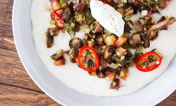 Grits with Brussels Sprouts, Quince, and Goats' Milk Curd