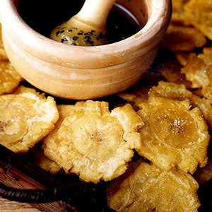 Twice-Fried Green Plantains with Garlic Dipping Sauce