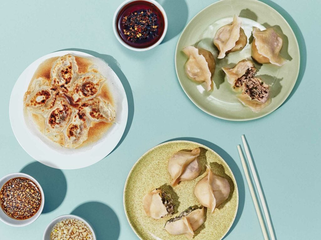 chinese dumplings with sauces