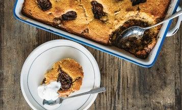 Cornbread Coffee Cake with Fresh Figs and Walnut Streusel
