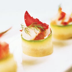 Cucumber-Wrapped Croutons with Cauliflower Mousseline and Lobster