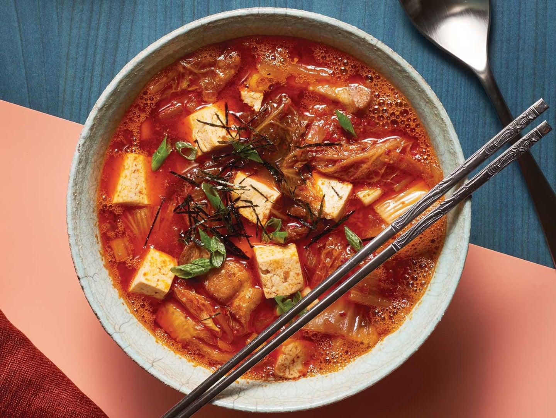 Korean Kimchi Stew with Pork Belly and Tofu (Kimchi jjigae)