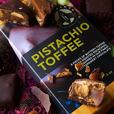 Chocolate-Dipped Pistachio Toffee
