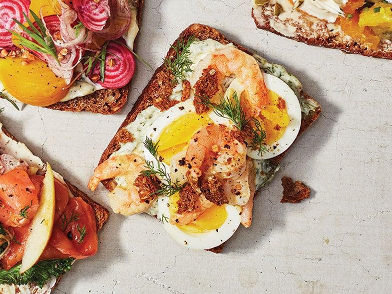 Smørrebrød of Eggs, Shrimp, and Dill
