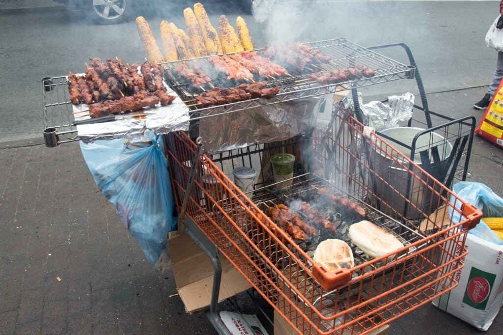A shopping cart grill in Queens, New York