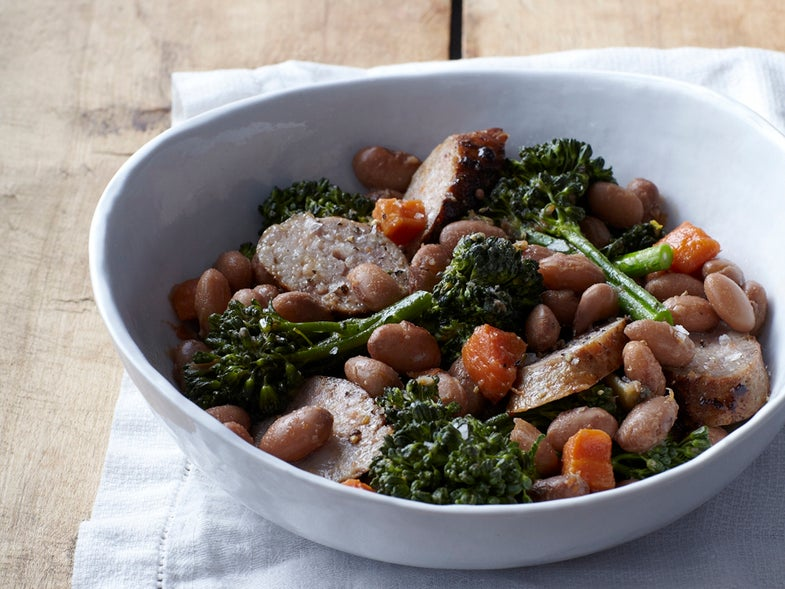 Sausage with Broccoli Rabe and Cranberry Beans