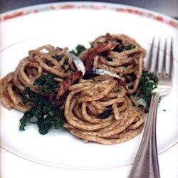 Bigoli in Salsa (Whole Wheat Spaghetti with Anchovy Sauce)
