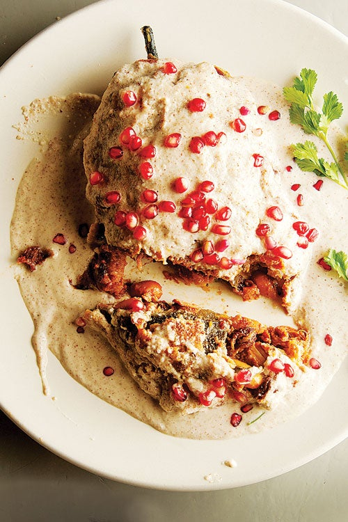 Stuffed Poblano Chiles with Walnut Sauce (Chiles en Nogada)