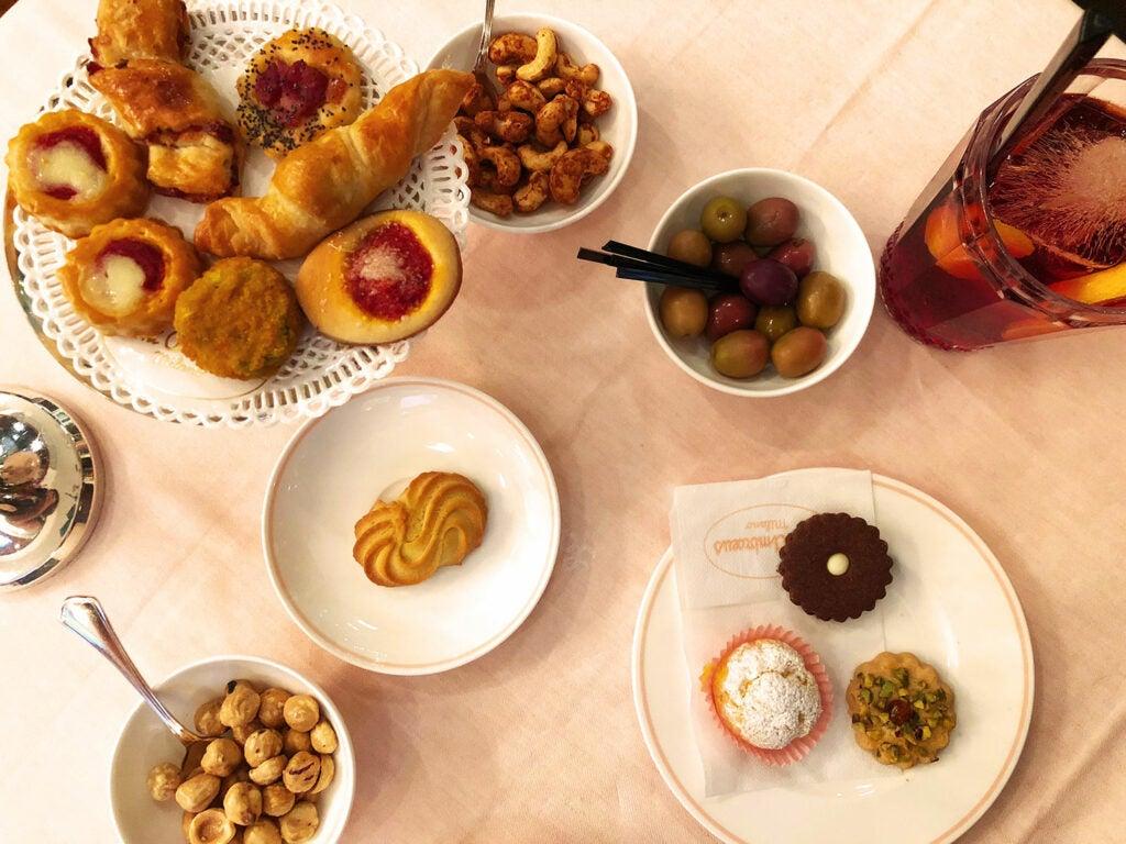 savory snacks at Milan's Saint Ambroeus