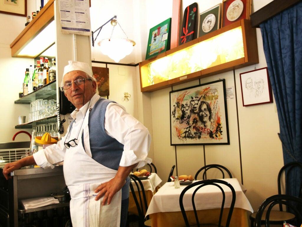 Owner Arturi Maggi at his restaurant Latteria San Marco