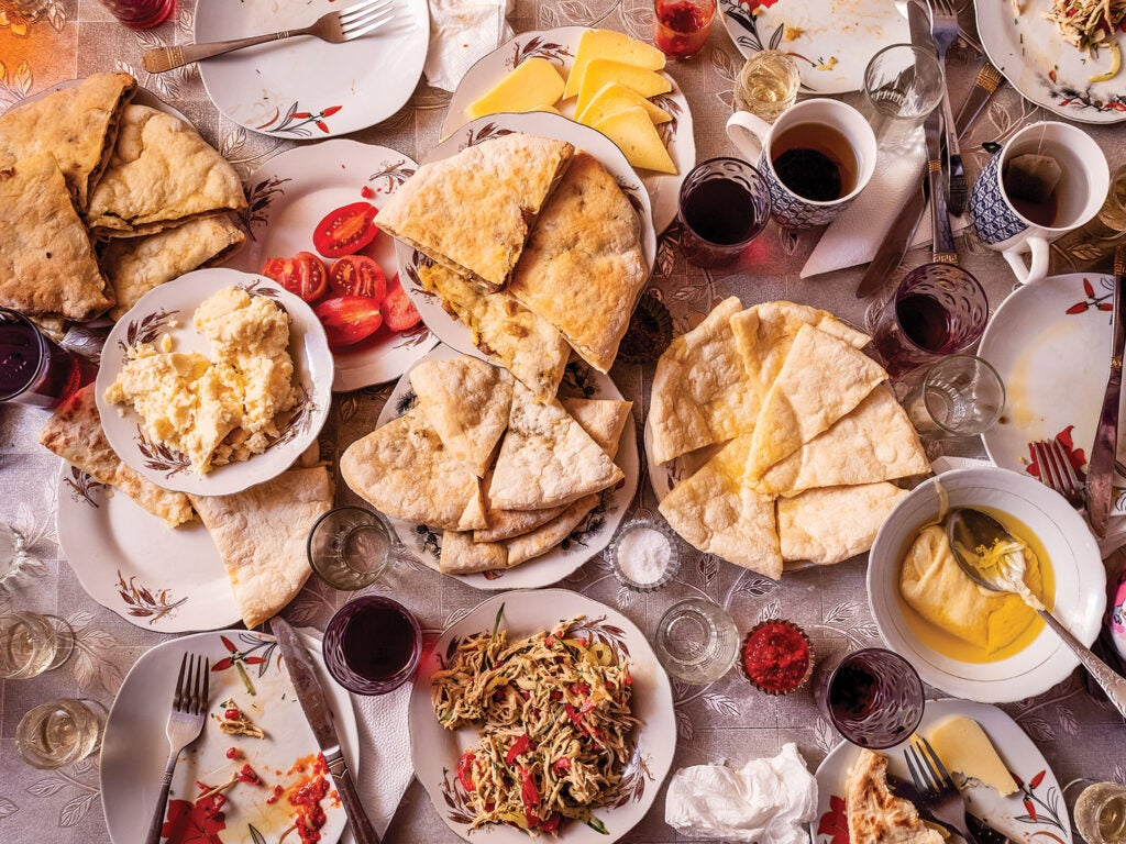 A Georgian feast of flatbreads, cheeses, and chicken salad