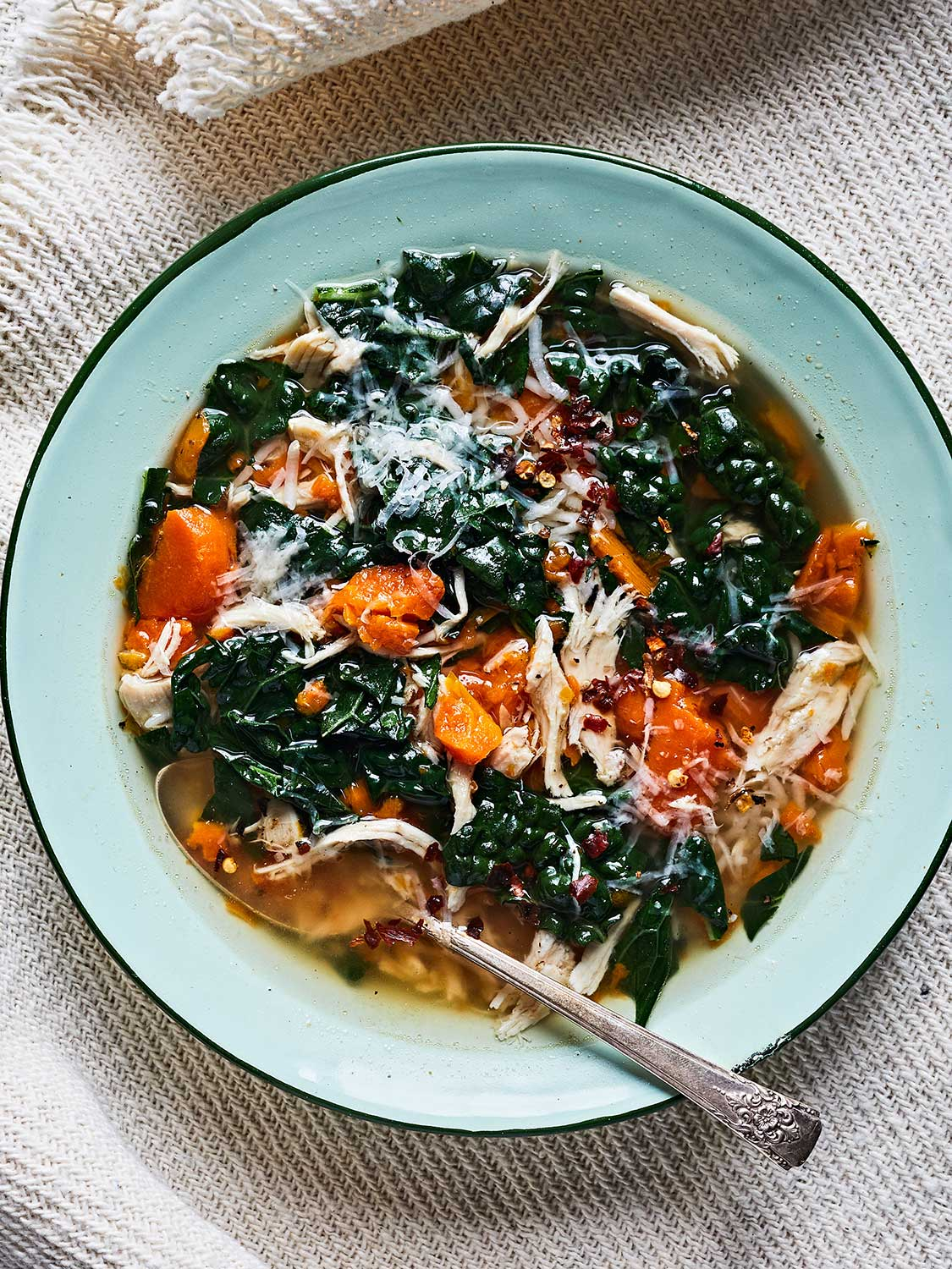 The Best Chicken Soup, with rice, carrots, and kale